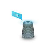 Virtual assistant or smart music speaker illustration.