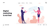 Virtual Augmented Reality Landing Page Template. Female Character Touching Interactive Interface for Working or Searching Data. Futuristic Vr Technology in Business. Cartoon People Vector Illustration