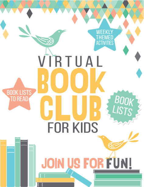 virtuelle buch club poster - homeschooling stock-grafiken, -clipart, -cartoons und -symbole