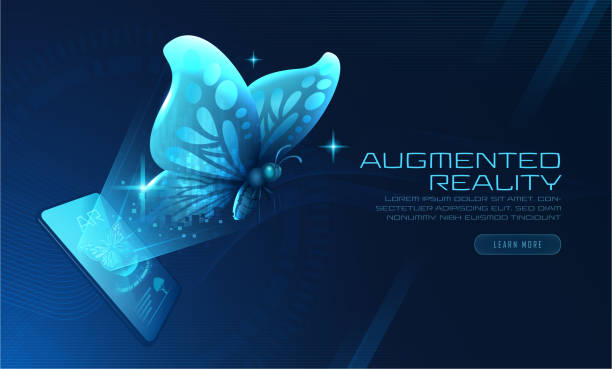 Virtual Butterfly Augmented Reality fliegen vom Smartphone – Vektorgrafik