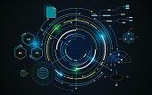 virtual circle screen tech futuristic pattern hud ui concept background