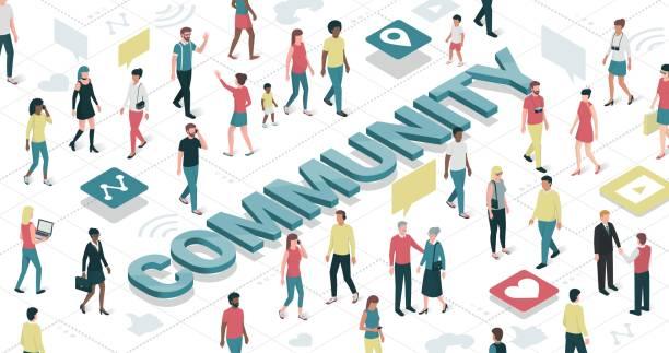 ilustraciones, imágenes clip art, dibujos animados e iconos de stock de comunidad virtual - reunión evento social