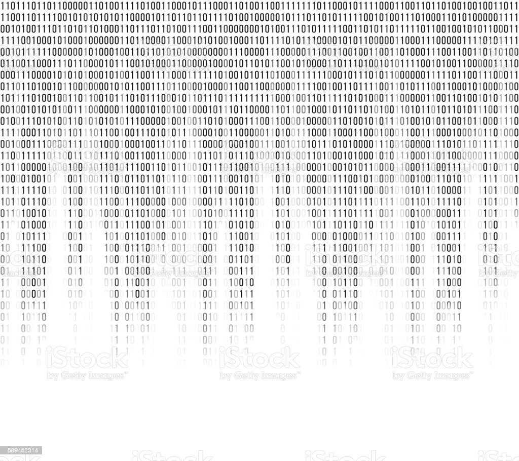 Virtual computer binary code abstract background vector art illustration