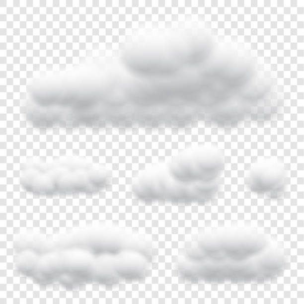 Virtual cumulus clouds vectors isolated on transparency background, Realistic Fluffy cubes like white cotton wool design Virtual cumulus clouds vectors isolated on transparency background, Realistic Fluffy cubes like white cotton wool design altocumulus stock illustrations