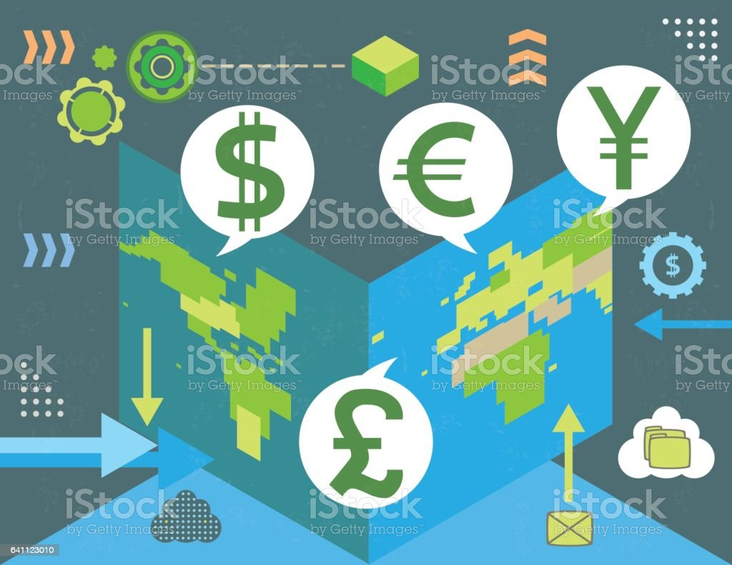 Virtual currency exchange inside open world map stock vector art virtual currency exchange inside open world map royalty free virtual currency exchange inside open world gumiabroncs Images