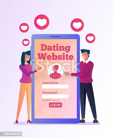 Virtual dating meeting by smartphone internet. Relationship lovers online by website. Vector flat graphic design isolated illustration