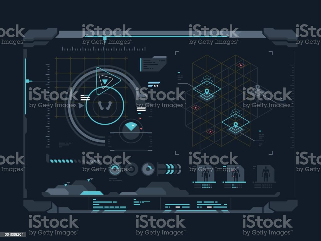 Virtual digital interface vector art illustration