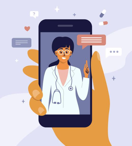 Virtual doctor concept with consultation and medical support – artystyczna grafika wektorowa