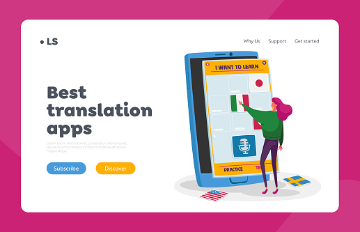 Virtual Electronics Studying Landing Page Template. Tiny Female Character Choose French Language, Online Technology