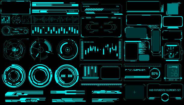 hud virtual futurystyczny element zestaw wektor. - futurystyczny stock illustrations
