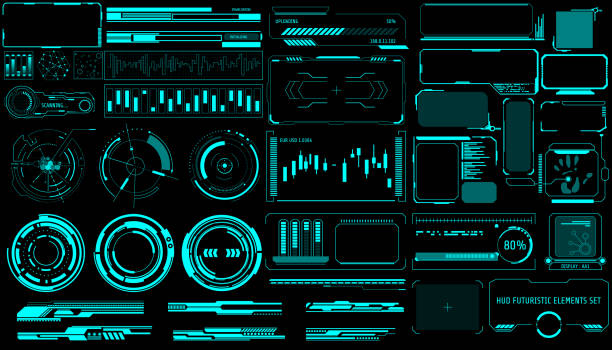 hud virtual futuristic elements set vector. - futurystyczny stock illustrations