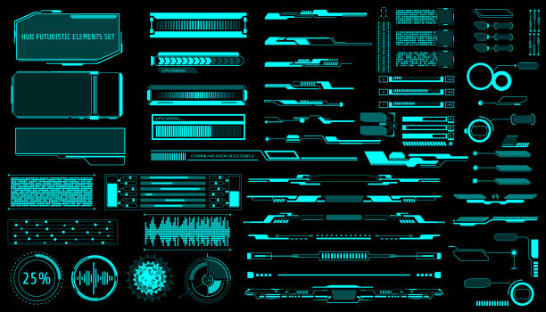 ilustrações de stock, clip art, desenhos animados e ícones de hud virtual futuristic elements set vector. - visor digital