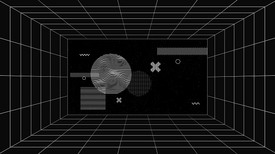 Virtual futuristic screen with grid lines and geometric art compositions. Conceptual sci-fi space of virtual reality technologies.