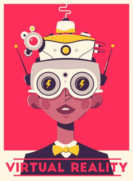 virtuelles spiel erleben retro-poster-vorlage. mann trägt vr-headset - markenbrillen stock-grafiken, -clipart, -cartoons und -symbole