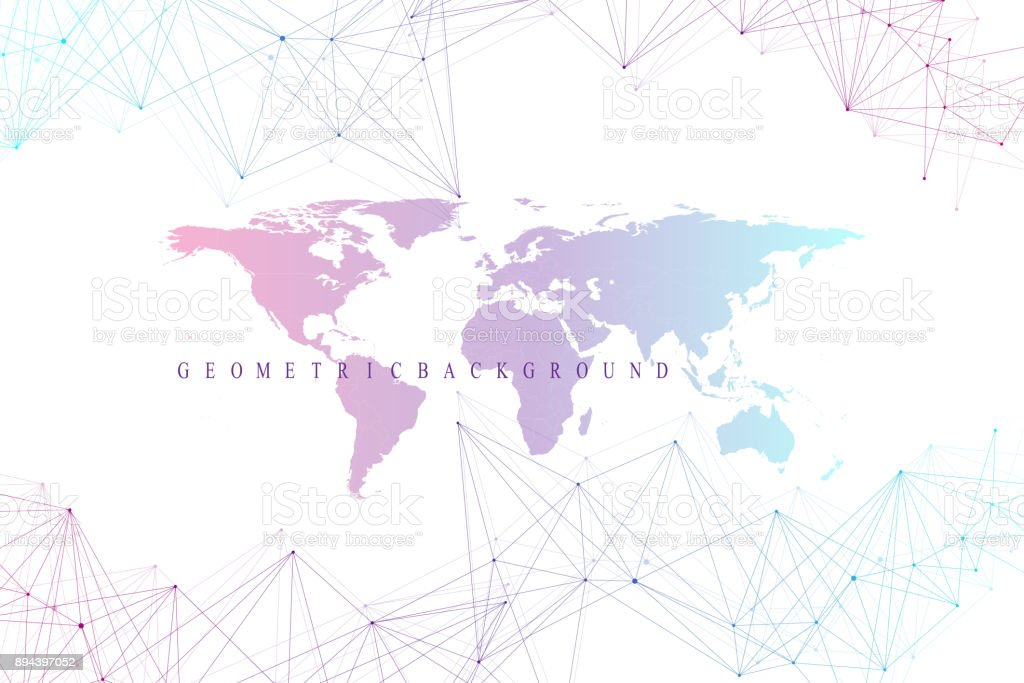 Virtual graphic abstract background communication with world map virtual graphic abstract background communication with world map perspective backdrop of depth digital data gumiabroncs Images