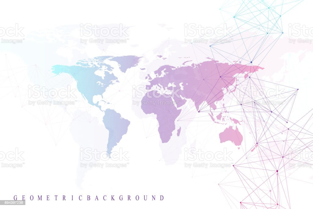 Virtual graphic abstract background communication with world map virtual graphic abstract background communication with world map perspective backdrop of depth digital data gumiabroncs Choice Image