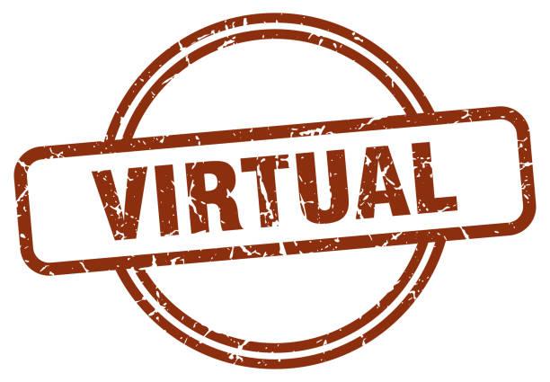virtual grunge stamp. virtual round vintage stamp vector art illustration