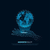 Virtual hand holds up the holographic Earth. Futuristic vector with lines and dots of AI and VR technology. Sci-fi concept design for backgrounds business, science and technology .