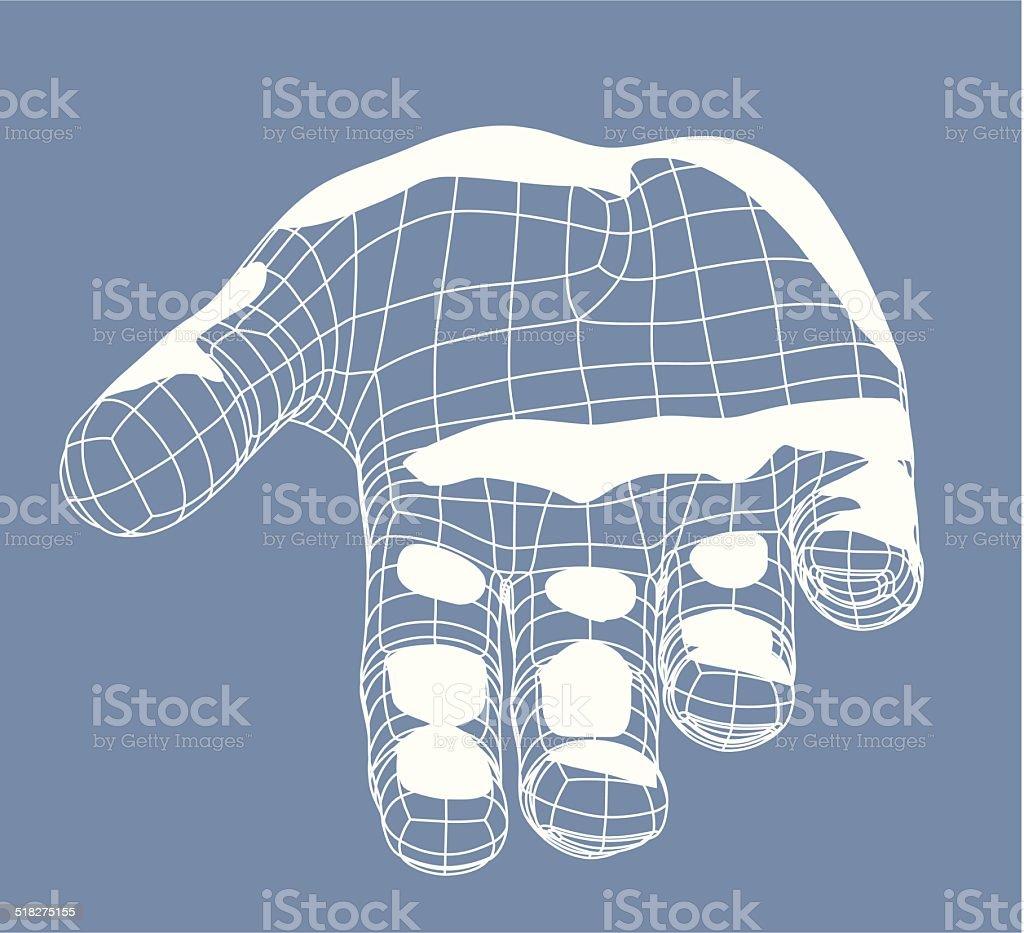 Virtual Hand Offer vector art illustration