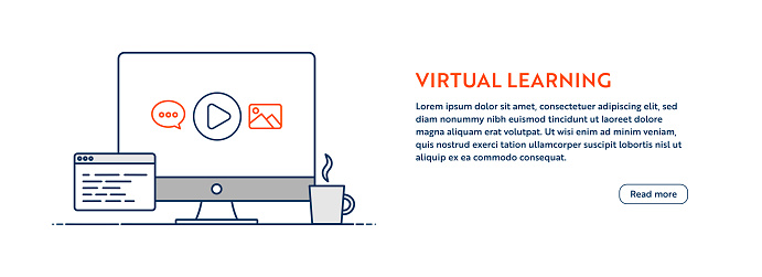 Virtual Learning Concept with Line Computer Illustration with Editable Stroke.