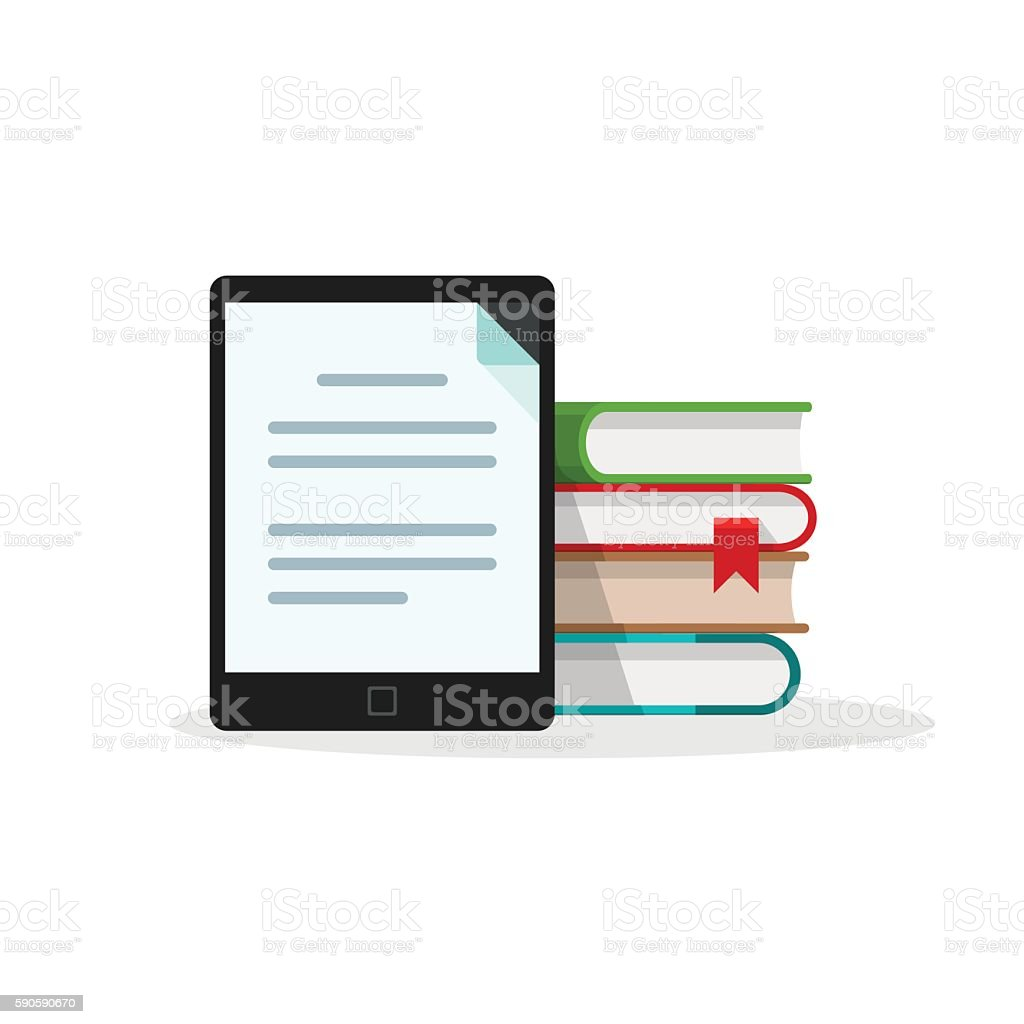 Virtual library concept, books stack behind electronic book reader tablet vector art illustration