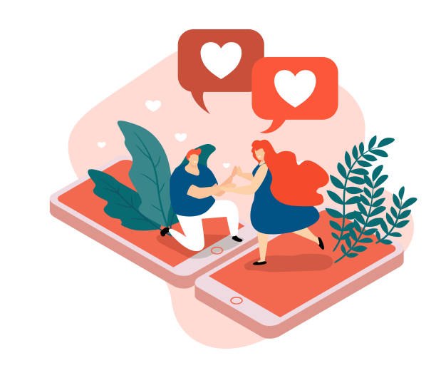 Virtual Love Isometric Composition. Virtual love isometric composition, man and woman standing on smart phone screen. Virtual love isometric background with man and woman during romantic relationships in internet space romance stock illustrations