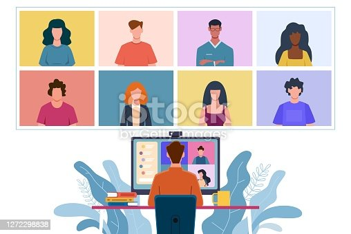 istock Virtual meeting. Collective home video conference, man chatting online with people. Discussion with friends, internet communication with colleagues group office teamwork vector flat concept 1272298838