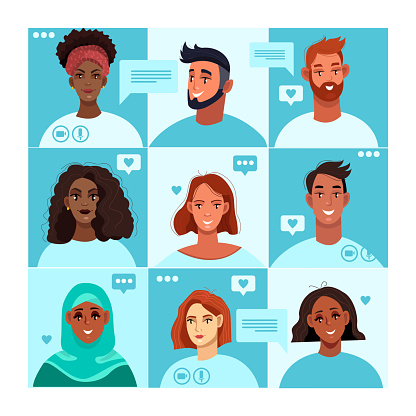Virtual meeting concept with different-looking diverse people avatars on big screen.