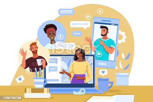istock Virtual meeting illustration with diverse students, female tutor, laptop, smartphone, home workplace. 1266799768