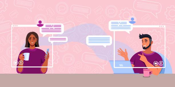 illustrazioni stock, clip art, cartoni animati e icone di tendenza di virtual meeting or call concept with cheerful young couple talking in internet. - two students together asian