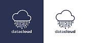 istock Virtual network data cloud circuit icon 1263876954