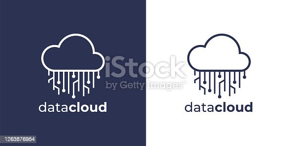 Cloud circuit icon. Internet data computing sign for technology company. Concept virtual online network circuitry symbol. Vector illustration.
