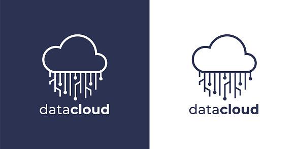 Virtual network data cloud circuit icon
