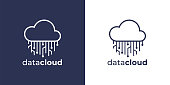 istock Virtual network data cloud circuit icon 1263876954