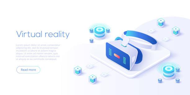 アイソメベクトル図の仮想現実または拡張現実の概念。vr/arメガネネットワークへの接続。ウェブサイトやソーシャルメディアのためのヘッドセット技術のウェブバナーレイアウトテンプレ� - ゲーム ヘッドフォン点のイラスト素材/クリップアート素材/マンガ素材/アイコン素材