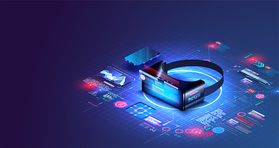 Virtual or augmented reality concept in isometric vector illustration. VR, AR glasses connection to network. Can be used as website poster or landing page design. 3D VR glasses on blue grid. UI, UX