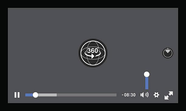 Virtual Reality 360 Media player interface – Vektorgrafik
