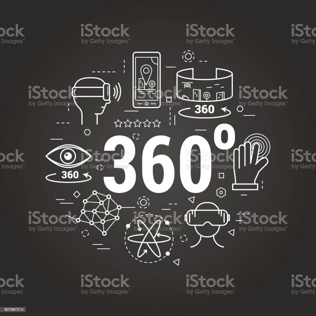 Virtual Reality 360 - rote Linie Kunst Konzept – Vektorgrafik