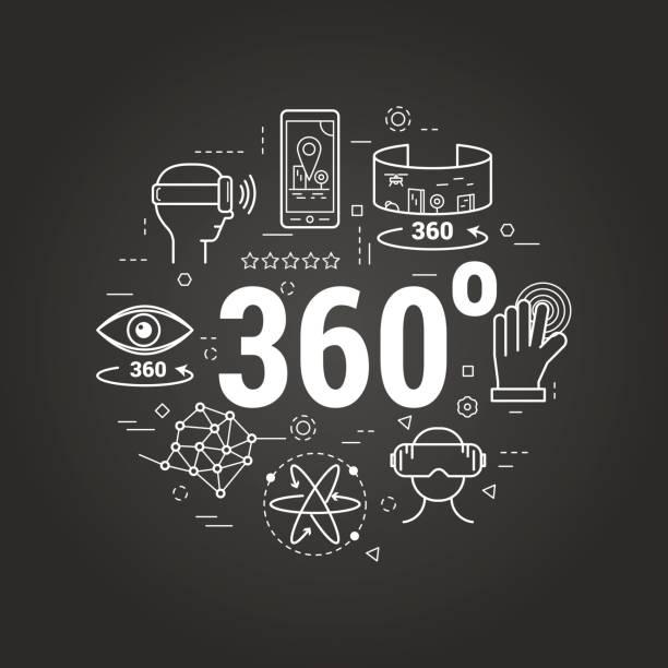 stockillustraties, clipart, cartoons en iconen met virtual reality 360 - rode lijn art concept - board game outside
