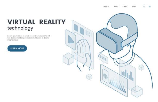 Virtual Reality und augmented-Reality-Vektor-Illustration. Mann mit VR-Brille, die User-Interface zu erleben. Isometrische Umriss-Stil. Die Zukunft der Informations- und Unterhaltungsprogramm. EPS-10. – Vektorgrafik