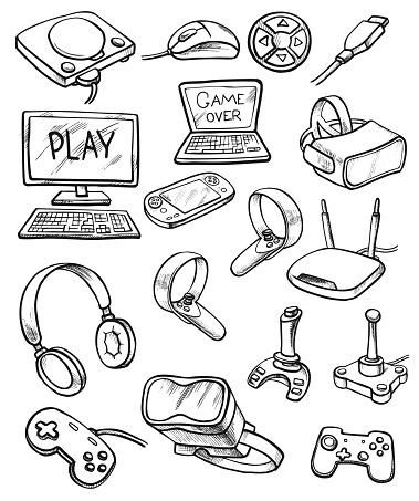 Virtual Reality And Computer Games doodle set. Vector illustration.