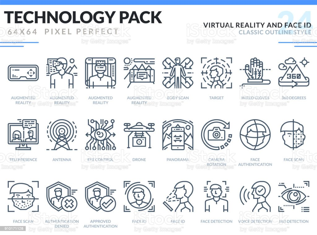 Virtual Reality and Face ID Icons Set. Technology outline icons pack. Pixel perfect thin line vector icons for web design and website application.