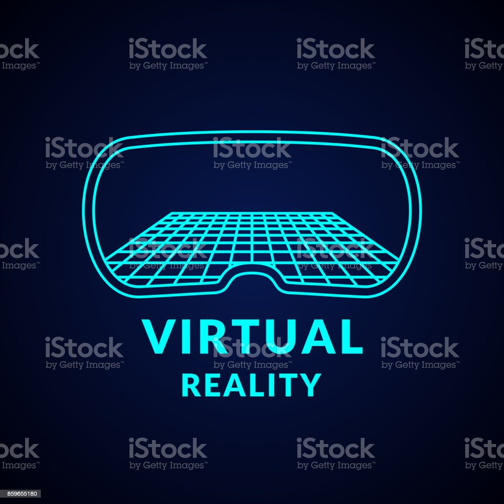 Virtual Reality and new technologies for games. Modern entertainment complex vector art illustration