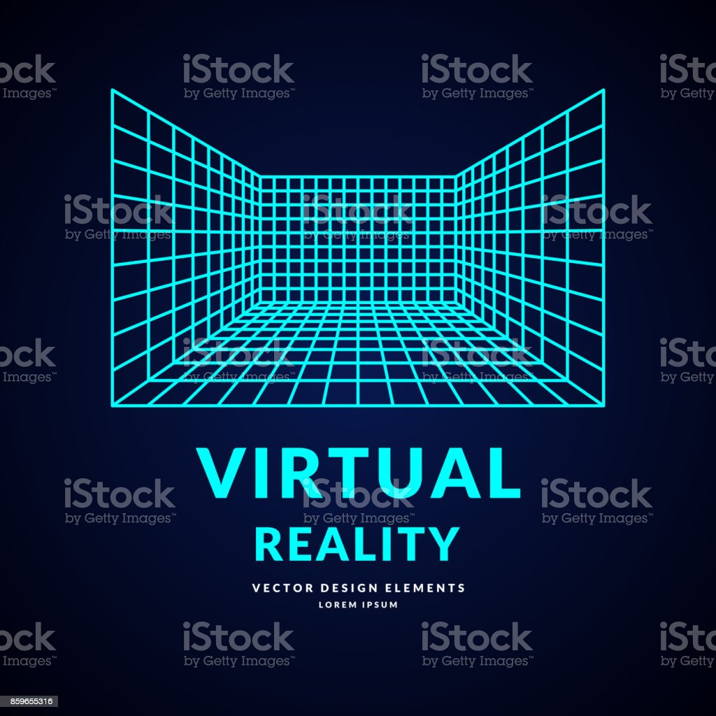 Virtual reality and new technologies for games. Room with perspective grid vector art illustration