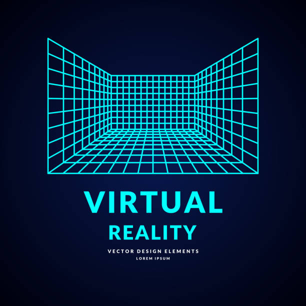 virtual reality and new technologies for games. room with perspective grid - линейная перспектива stock illustrations