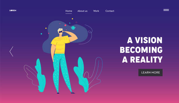 ilustrações de stock, clip art, desenhos animados e ícones de virtual reality augmented concept for landing page. male character and vr glasses headset having an idea. online gaming and new technology banner for website, web page. flat vector illustration - man joystick
