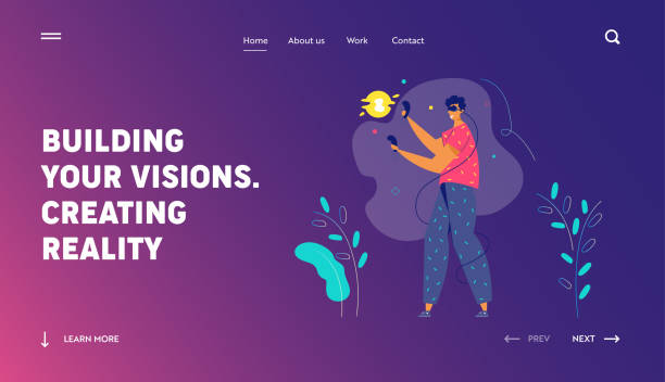 ilustrações de stock, clip art, desenhos animados e ícones de virtual reality augmented concept for landing page. male character with vr glasses playing game. new technology video gaming experience for website, web page. flat vector illustration - man joystick