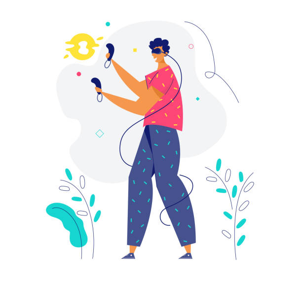 ilustrações de stock, clip art, desenhos animados e ícones de virtual reality augmented concept. male character with vr glasses and controllers playing online  games. new technology gadgets for website, banner, poster. flat vector illustration - man joystick