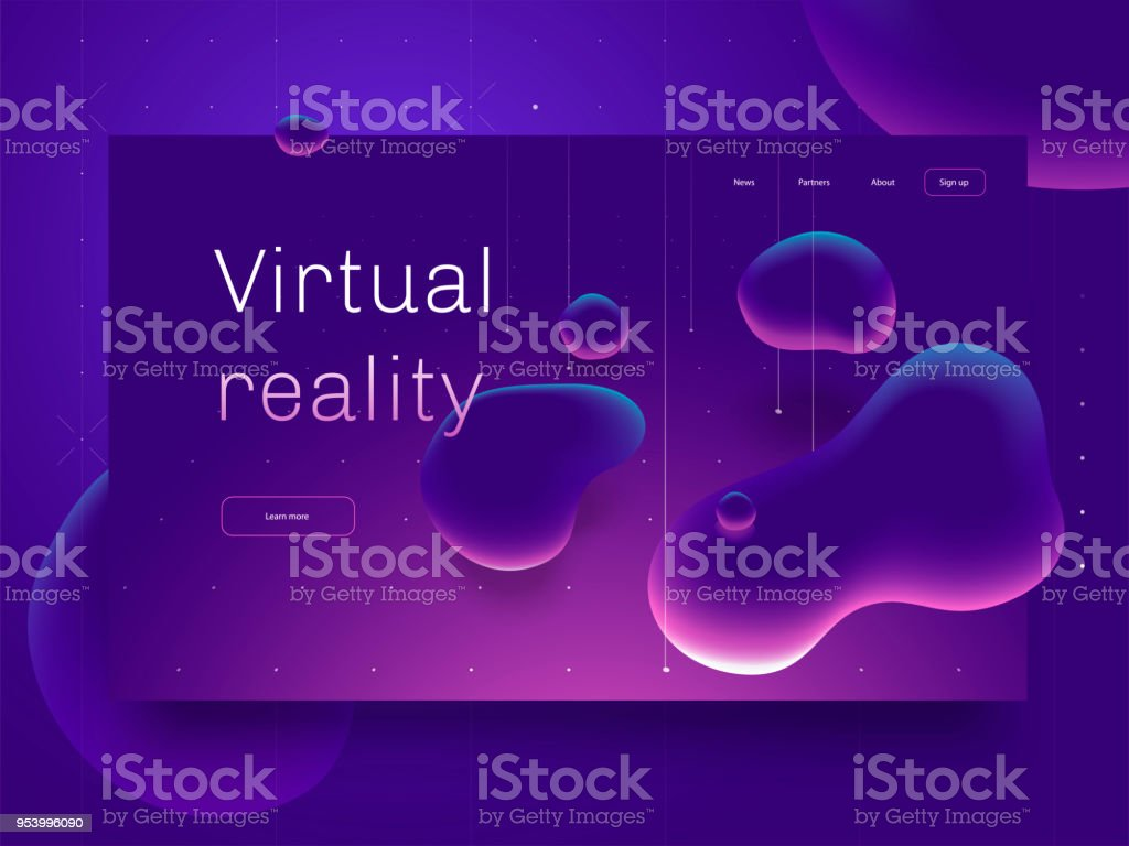 Virtual reality concept. 3d abstract bubble shapes flying above surface. Landing page template. 3d vector illustration.