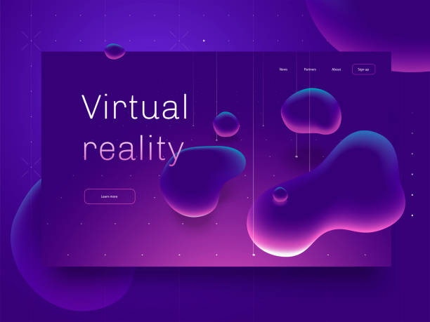 Virtual reality concept. 3d abstract bubble shapes flying above surface. Landing page template. 3d vector illustration. vector art illustration